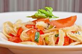 Penne pasta with parmesan cheese, herbs, tomatoes and basil