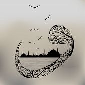 Arabic calligraphy and the abstract silhouette of Istanbul,