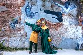Penang, Malaysia - Dec 28, 2013: Muslim Bride And Groom Took Pre-wedding Photography On Street Art.
