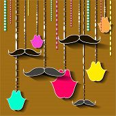 vintage moustache and lips card design