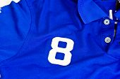 Number Eight On Blue Shirt
