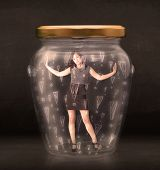 Business woman trapped in jar with exclamation marks concept on bakcground