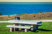 Secluded Place For Meditations On The Sea Shore. On A Bench