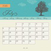 Calendar for July 2015 starting Monday, vector calendar set