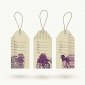 Vintage style eco friendly sale garment tags design on recycled craft carton, vector illustration