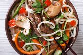 Asian Rice Noodles With Meat, Vegetables And Shiitake Macro