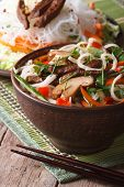 Salad Of Rice Noodles With Meat, Shiitake And Vegetables Vertical