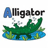 Little alligator or crocodile, ABC. Alphabet A