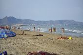 Unidentified People Spending An Afternoon At Beach Of Castellón De La Plana