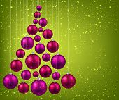 Christmas tree with magenta christmas balls over green background. Vector illustration.