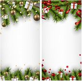 Winter banners with spruce twigs and colorful baubles. Christmas vector illustration. Eps10.