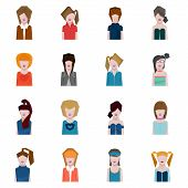 female face avatars, flat style