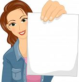 Illustration Featuring a Caucasian Woman Holding a Blank Piece of Paper