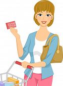 Illustration Featuring a Woman Pushing a Shopping Cart Holding a Discount Coupon