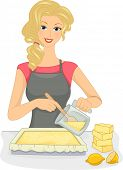 Illustration Featuring a Woman Making Homemade Lemon-Scented Soap