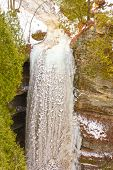 stock photo of wildcat  - Frozen Wildcat Falls in Starved Rock State Park in Illinois in the Winter - JPG