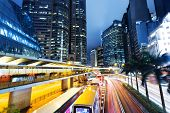 cityscape and traffic trails in modern urban city,Hongkong