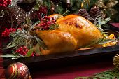 Christmas Turkey In Wooden Tray
