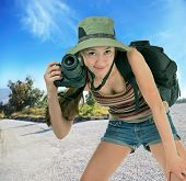 Young Tourist With Camera poster