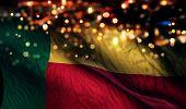 Benin National Flag Light Night Bokeh Abstract Background
