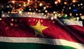 Suriname National Flag Light Night Bokeh Abstract Background