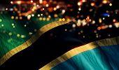 Tanzania National Flag Light Night Bokeh Abstract Background