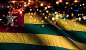 Togo National Flag Light Night Bokeh Abstract Background