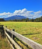 On the horizon the beautiful high mountain is visible. The green grassy rural field fenced with a low strong fence