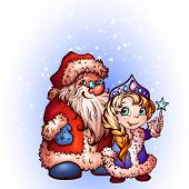 Christmas Santa Claus and Snow-Maiden. Vector illustration