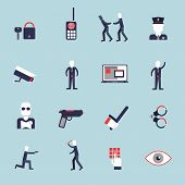 Security guard flat icons