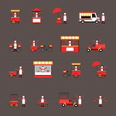 picture of food truck  - Street fast food icon flat set with people delivery truck cart isolated vector illustration - JPG