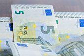 Close-up of 5 Euro banknotes