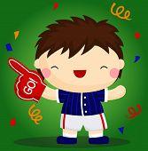 Baseball boy cheering
