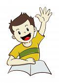 Boy Raising Hand While Study