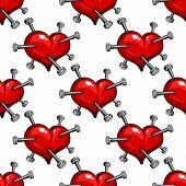 Seamless pattern of a nail studded heart