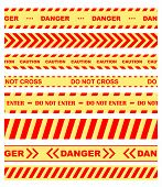Warning, danger and caution tapes or ribbons