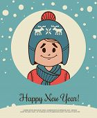 stock photo of knitted cap  - Holiday card with small boy in knitted cap and  sweater  - JPG