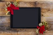 Tablet Pc With  Christmas Decorations