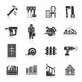 foto of carpentry  - Carpentry industry equipment icons black set with hammer tools furniture saw isolated vector illustration - JPG