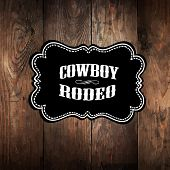 Wooden background with wild west styled label