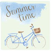 Summer time watercolor hand drawn bicycle. Patel tender color