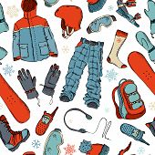 Seamless pattern of winter extreme sport.