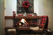 Christmas Fireplace With Decorations