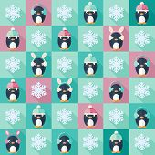 Christmas Flat Seamless Pattern With Penguins
