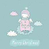 stock photo of christmas angel  - Cute Christmas card with angel in sky - JPG