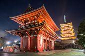 Senso-ji Temple At Night, Asakusa, Tokyo, Japan