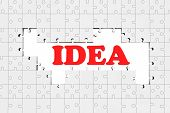 Idea Sign With Puzzles