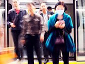 Passengers Exiting Mtr Subway Cabin