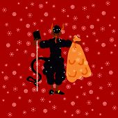 Traditional Christmas devil figure on red background with shining snowflakes