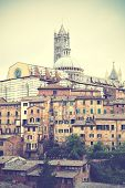 View of Siena in Italy. Retro style filtred image